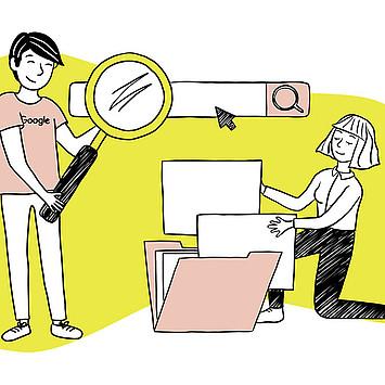 GMF Illustration Structured Data und SEO: Mann mit hält Lupe auf Frau die einen ordentlich sortierten (Computer-)Ordner präsentiert